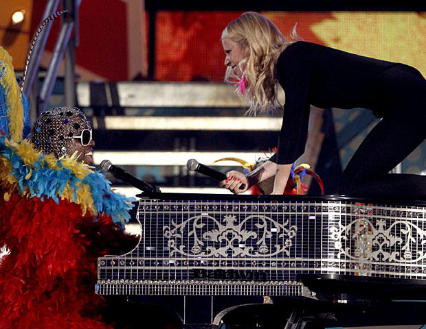 Cee Lo Green, left, and Gwyneth Paltrow perform at the 53rd annual Grammy Awards on Sunday, Feb. 13, 2011, in Los Angeles. (AP Photo/Matt Sayles)