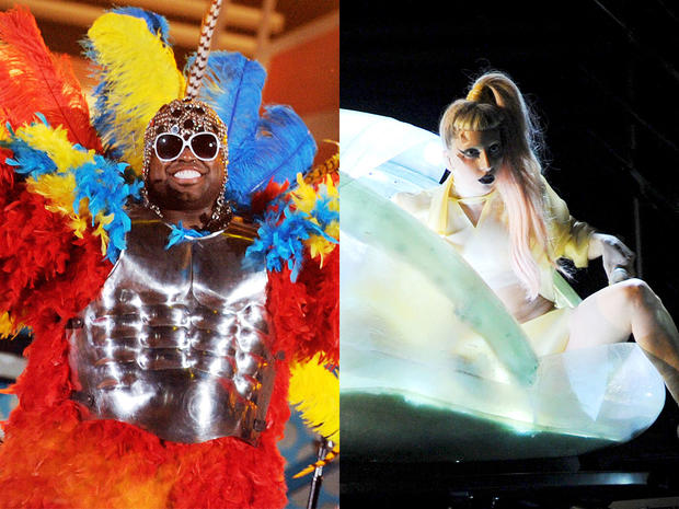 Cee Lo Green and Lady Gaga square off for craziest costume at 2011 Grammy Awards.