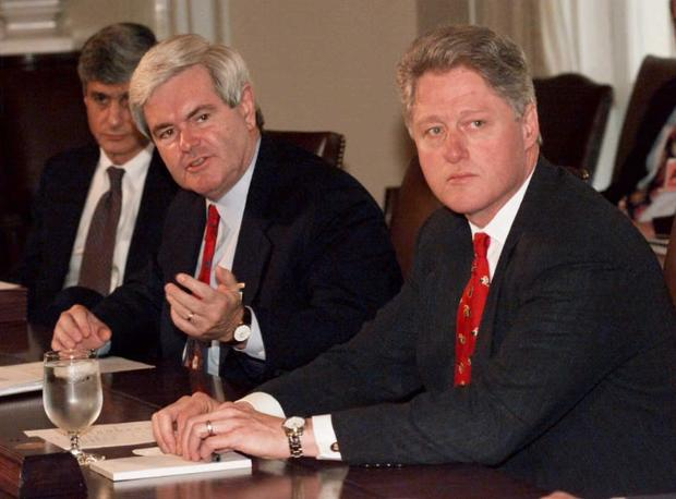 Newt Gingrich and Bill Clinton