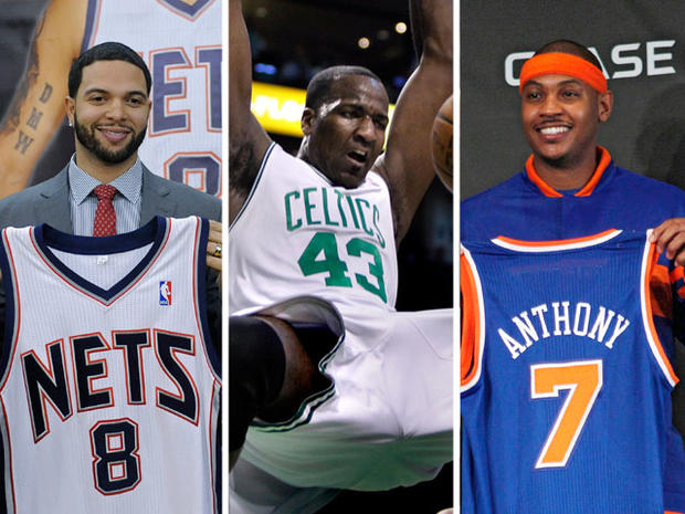 Deron Williams, Kendrick Perkins and Carmelo Anthony