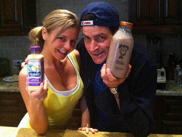 """Charlie Sheen and Rachel Oberlin in a photo Sheen posted on Twitter with the caption """"Choose your vice."""""""