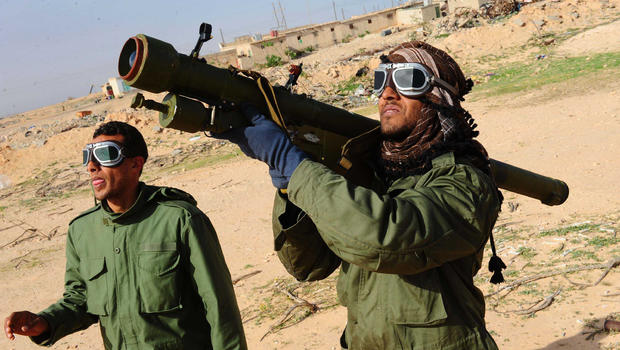 Libyan rebels fire anti-aircraft rocket