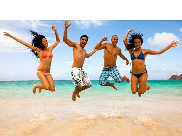 hawaii, beach, friends, happy, stock, 4x3