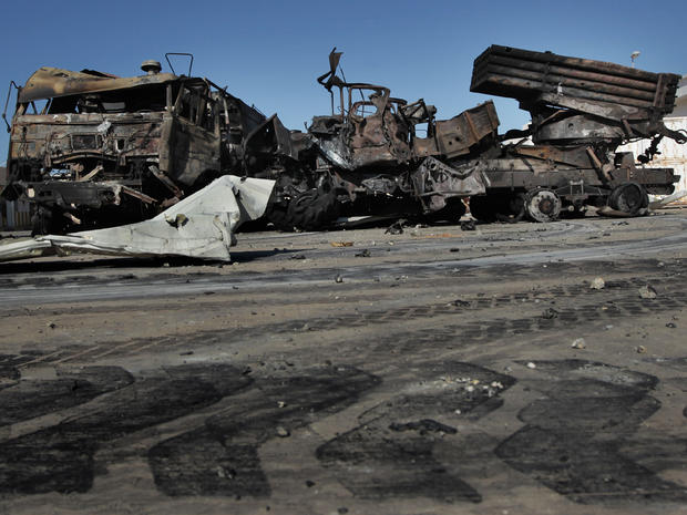 Destroyed Libyan missile launchers in Tripoli