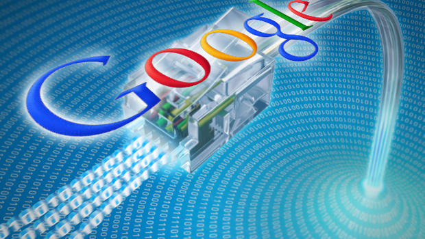 Google logo over Ethernet cable