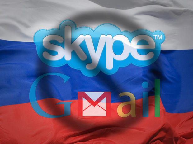 skype and gmail logo over Russia flag