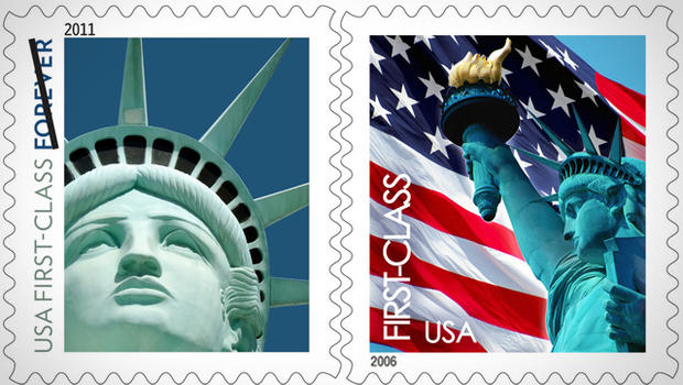 first class letter postage price of a class stamp to go up by 1 cent cbs news 21721 | Lady Liberty stamp 110415