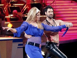 """Kirstie Alley and Maksim Chmerkovskiy perform on """"Dancing with the Stars,"""" April 18, 2011."""