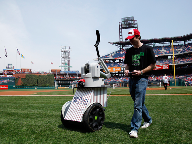 Jordan Brindza pilots a robot from the University of Pennsylvania