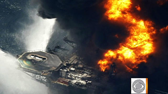 Fire flares on BP's Deepwater Horizon oil rig in Gulf of Mexico. Explosion ripped through it on Oct. 20, 2010.