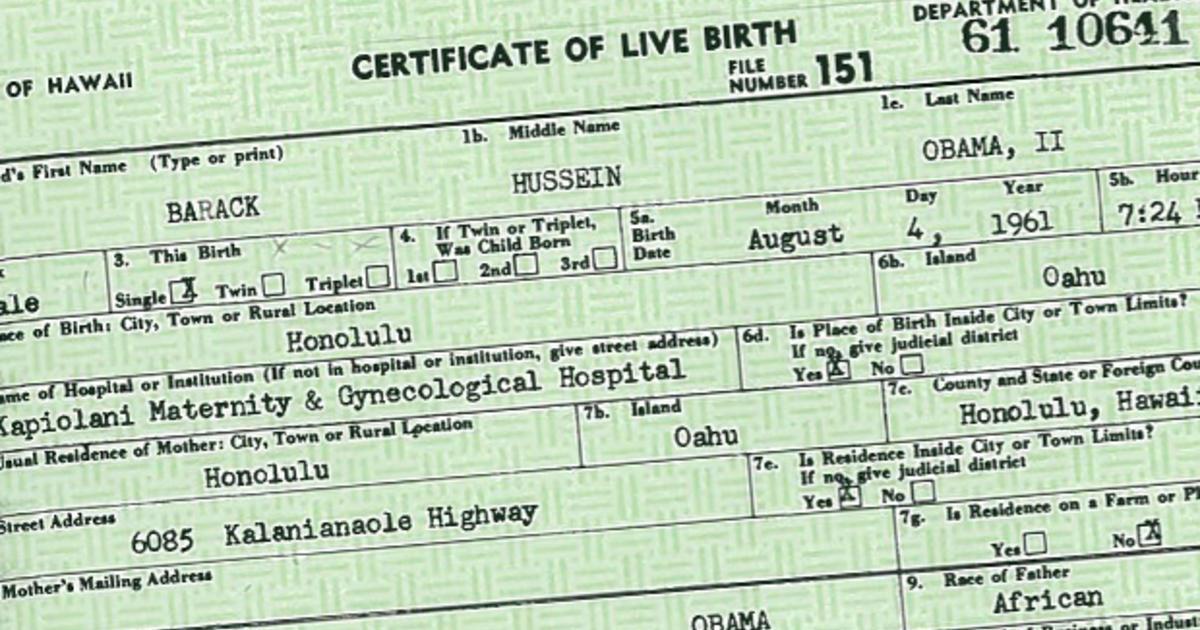 Obama Birth Certificate Release Wont Kill Birther Movement Cbs News