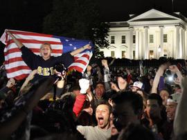 Revellers cheer Osama bin Laden's death outside White House