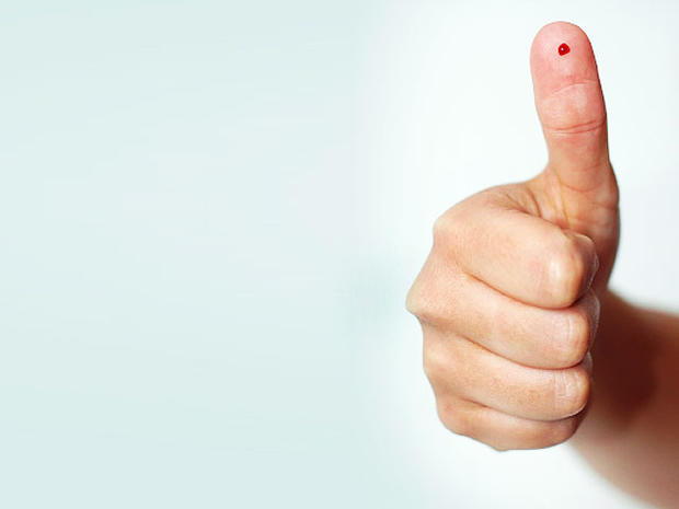 blood test, thumbs up, hand, simple, stock, 4x3, pin prick