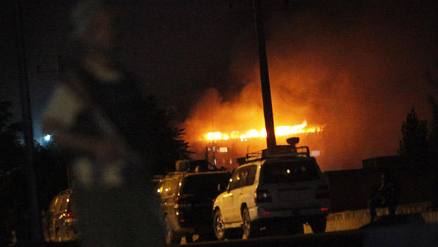 The Inter Continental hotel is on fire during an attack in Kabul, Afghanistan, June 29, 2011.