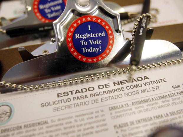 A Spanish version of a Nevada voter registration form is seen in Las Vegas Aug. 22, 2008. With immigration slowing, babies born in the U.S., rather than newly arrived Mexican immigrants, are now driving most of the fast growth in the Latino population. A Pew Hispanic Center study released July 14, 2011, highlights a turning point in Hispanics' rapid U.S. growth. Demographers point to the potential for broader political impact as U.S.-born Mexican-Americans widen their numbers over non-citizen, foreign-born counterparts, who have no voting rights.