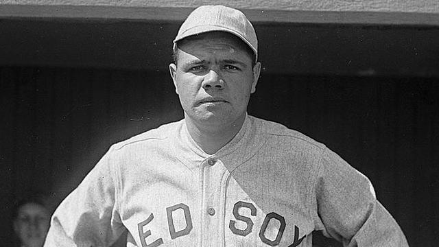 Babe Ruth poses in 1919, his last season in a Boston Red Sox uniform.