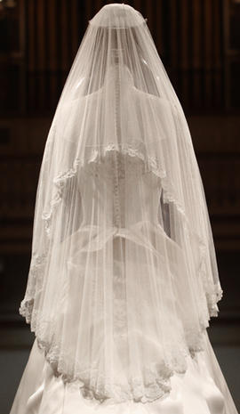 Kate Middleton wedding dress, up-close