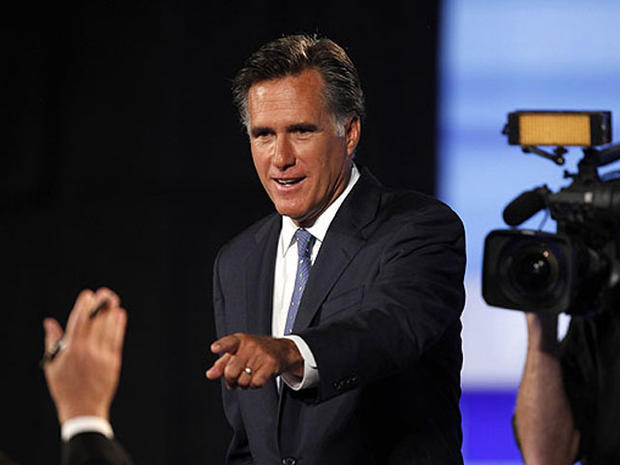 Republican presidential candidate former Massachusetts Gov. Mitt Romney is seen during a commercial break at the Iowa GOP/Fox News Debate at the CY Stephens Auditorium in Ames, Iowa, Aug. 11, 2011.