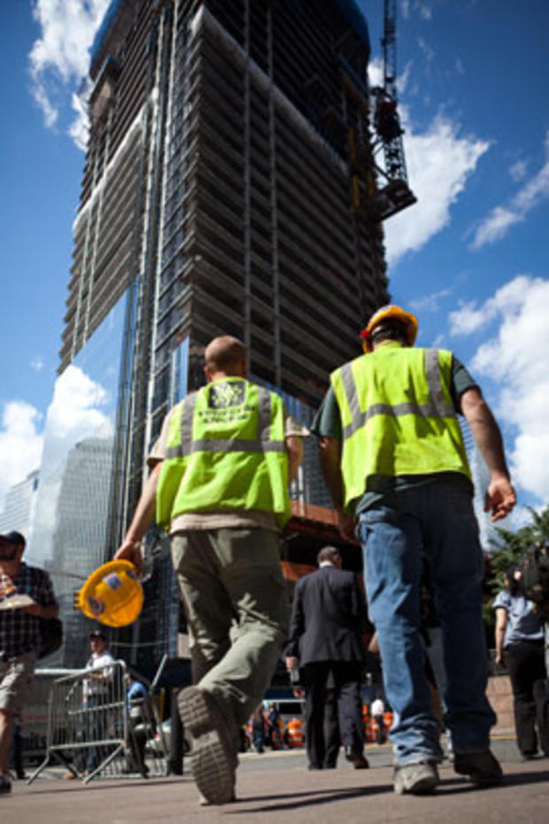 Construction workers at ground zero head back to work after an earthquake shook Manhattan, Aug. 23, 2011, in New York.