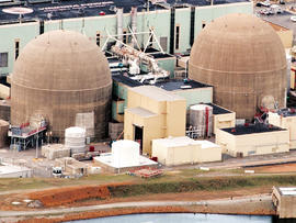 Two nuclear power generation stations operated by Dominion Virginia Power at the North Anna Power Station are seen March 24, 2011, at Lake Anna, Va., in this aerial photo. The Lake Anna Reactor is ranked seventh most at-risk for earthquake damage. According to the Nuclear Regulatory Commission, North Anna faces an annual 1 in 22,727 chance of the core being damaged by an earthquake and exposing the public to radiation. The national average for U.S. nuclear plants is a 1 in 74,000 chance. The top five most at-risk plants are all on the east coast: Indian Point, north of New York City; the Pilgrim Plant south of Boston; Limerick outside of Philadelphia; the Sequoyah plants near Chattanooga, Tenn.; and Beaver Valley near Pittsburgh. These five plants are at a higher statistical risk than those along fault lines in California, for example, because they were not designed for and built in presumed strong quake danger areas. Since they were constructed, the U.S. federal government has revised upwards the quake risks where they are. According to Jim Norvelle with Dominion Power, North Anna was designed to withstand a magnitude 5.9 - 6.1 earthquake.