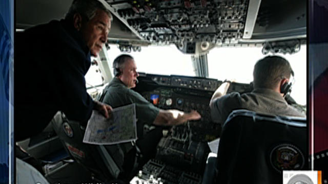 Undated photo shows then-President George W. Bush in cockpit of Air Force One