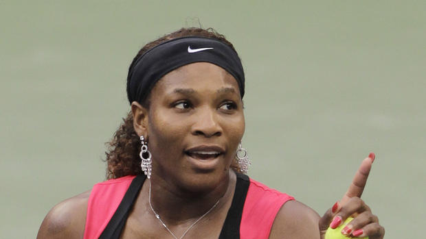 Serena Williams gestures while talking to the chair umpire Eva Asderaki during the women's championship match at the U.S. Open tennis tournament in New York, Sunday, Sept. 11, 2011.