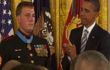 Obama jokes with Medal of Honor recipient