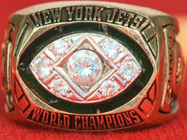 The NFL championship ring from Super Bowl III that former New York Jets center John Schmitt lost in Hawaii is seen in this undated image.