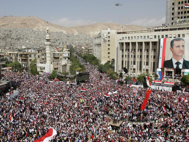 Pro-Assad rally in Damascus