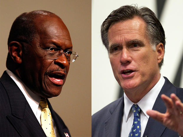 Herman Cain and Mitt Romney