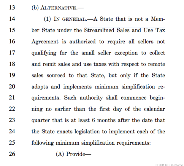 Excerpt from a draft bill obtained by CNET and prepared by GOP senators Mike Enzi of Wyoming and Lamar Alexander of Tennessee.