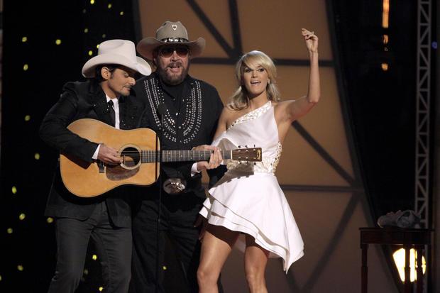 Blake Shelton, left, Hank Williams Jr., center, and Carrie Underwood during the 45th Annual CMA Awards in Nashville, Tenn., on Nov. 9, 2011.