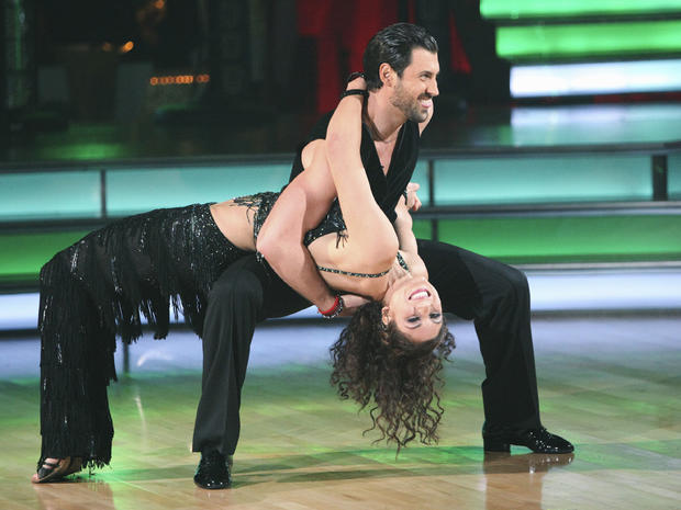 Hope Solo and her partner Maksim Chmerkovskiy perform