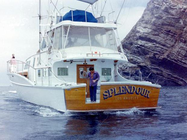 "Robert Wagner and Natalie Wood's yacht, ""Splendour."""