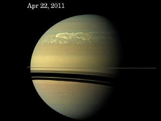 Saturn wracked by monster tempest