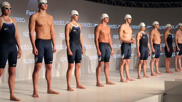 Olympic swimmers suit up for London games - CBS News