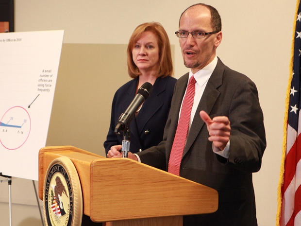 Assistant Attorney General Thomas Perez and U.S. Attorney Jenny Durkan hold a news conference Dec. 16, 2011, on the Department of Justice's investigation of the Seattle Police Department.
