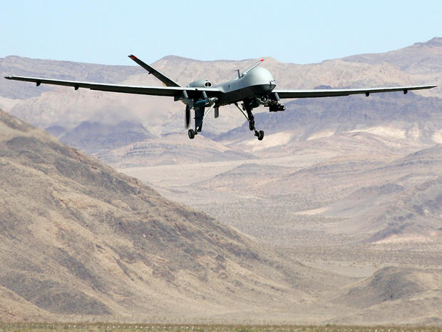 An MQ-9 Reaper drone takes off Aug. 8, 2007, at Creech Air Force Base in Indian Springs, Nev.