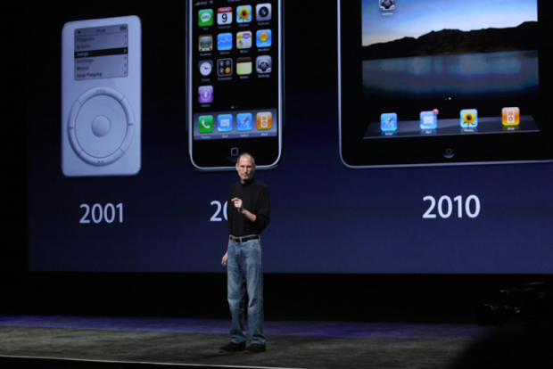 Steve Jobs at the unveiling of the iPad 2.
