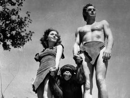 "File photo shows Johnny Weissmuller as Tarzan, Maureen O'Sullivan as Jane, and Cheetah the chimpanzee, in scene from 1932 movie ""Tarzan the Ape Man"""
