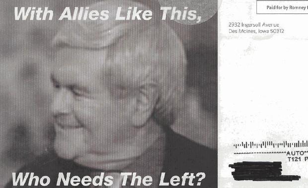 Newt Gingrich, Mitt Romney, Iowa, mailer