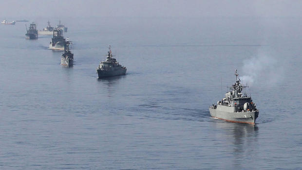 Iranian Navy boats take part in maneuvers during navy exercises in the Strait of Hormuz