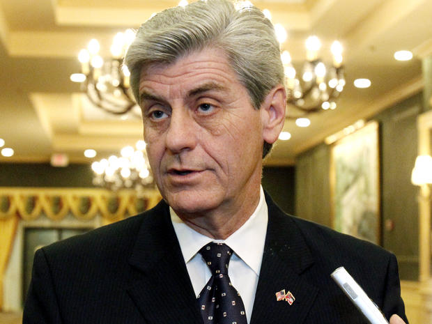 Mississippi Gov. Phil Bryant tells reporters he favors some sort of limits on gubernatorial pardon powers Jan. 17, 2012, in Jackson, Miss.