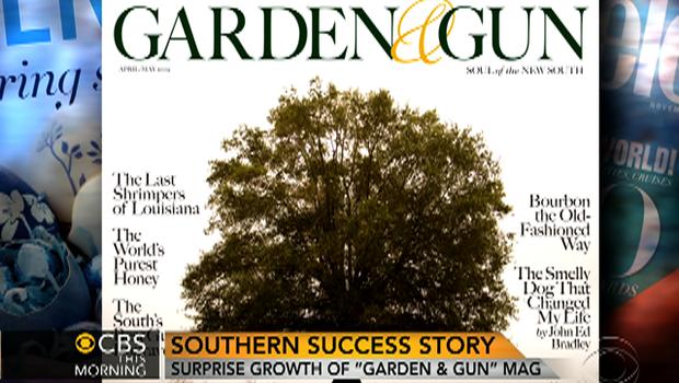 """Garden and Gun"" magazine cover is seen."