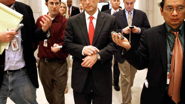 House Majority Leader Eric Cantor is chased by reporters after a news conference at the U.S. Capitol Dec. 22, 2011, in Washington.