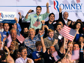 Supporters of Republican presidential candidate, former Massachusetts Gov. Mitt Romney, cheer as results come in during the Florida primary election Tuesday Jan. 31, 2012, in Tampa, Fla.