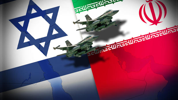 Flags of Israel and Iran with Israeli F-16 fighters