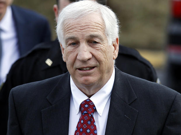 Jerry Sandusky, a former Penn State assistant football coach charged with sexually abusing boys, arrives at the Centre County Courthouse for a bail conditions hearing Feb. 10, 2012, in Bellefonte, Pa.