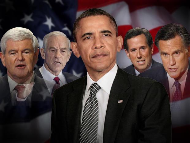 Obama Gingrich Romney Paul Santorum