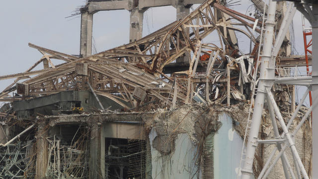 Destroyed unit 3 reactor building of Tokyo Electric Power Co.'s tsunami-crippled Fukushima Dai-ichi nuclear power plant in February